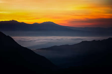 Early morning after sunrise view of the spectacular Gunung Bromo and Sumeru volcanoes in Java, Indonesia