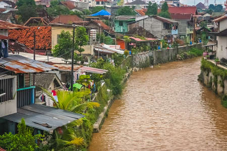 River flowing through the Bukittingi town in Sumatra, Indonesia
