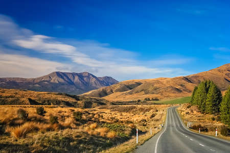 Beautiful road through New Zealand South Island
