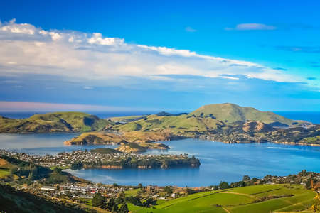Dunedin town and bay as seen from the hills above, South Island, New Zealand