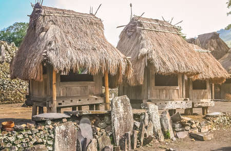 Small old wooden huts in the traditional indonesian village Bena on Flores island, Indonesia Stock Photo