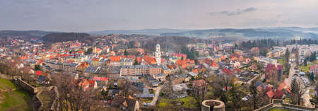 Panorama of the small Bolkow town in Lower Silesia, Poland, as seen from the walls of the Bolkow castle Stock Photo