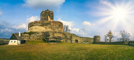 Panorama of the ruins of the medieval Bolkow Castle ruins in Lower Silesia, Poland Фото со стока