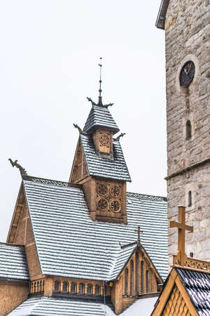 Wooden roof of the medieval Wang Temple in Karpacz, Poland, photographed in winter. It is a Norwegian stave church which was transferred to Karkonosze mountains.