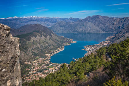Stunning landscape of the Bay of Kotor in Montenegro as seen from the road to Lovcen National Park