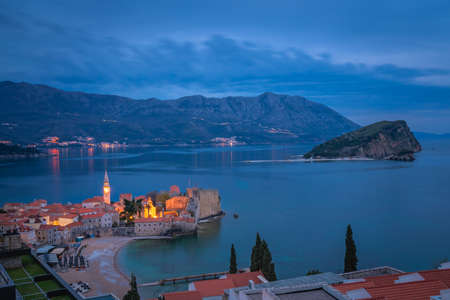 Dusk over the popular summer resort town Budva on the Adriatic coast in Montenegro
