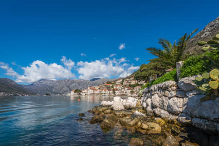 View of the beautiful Perast town in the Kotor Bay, Montenegro