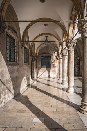 Inner courtyard and arched corridor in Dubrovnik Old Town, Croatia