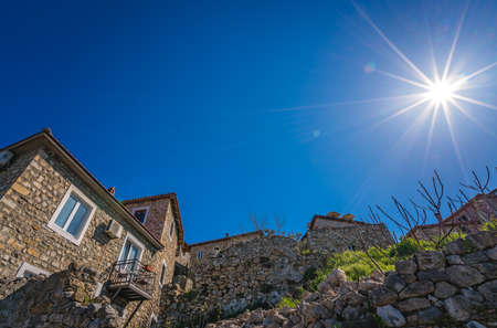 Sunshine over the houses in the Old Town in Ulcinj, Montenegro