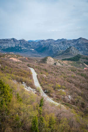 Winding road going to the Skadar Lake National Park in Montenegro Stock Photo