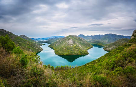 The hill called the Green Pyramid and the bend of the Rijeka Crnojevica River, Skadar Lake National Park, Montenegro