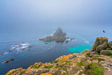 Landscape of the Lands End - the most westerly point of England which is a popular tourist attraction, Penwith