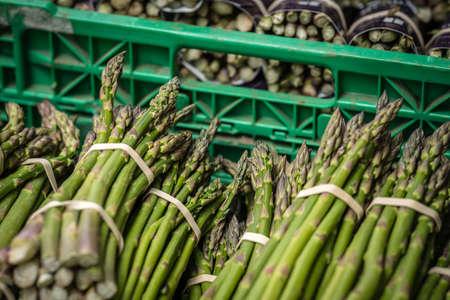 Bunches of asparagus for sale on a farmers market in Cornwall Stock Photo