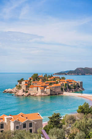Sveti Stefan, Montenegro - April 2018 : Historical old town, currently privately owned and turned into an expensive luxury hotel Editorial