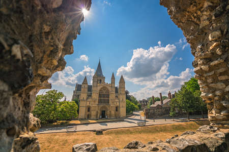 View of the magnificent Rochester Cathedral through the arched castle window, Kent, UK