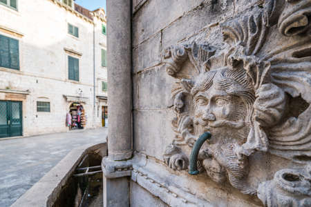 Closeup detail of the famous Dubrovnik Stradun street Onofrio Fountain in the Old Town, Croatia