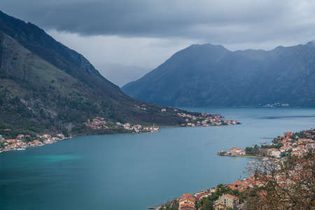 View of the Bay of Kotor, as seen from the trail to the fortress above town, Montenegro Imagens