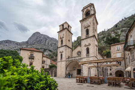 Kotor, Montenegro - April 2018 : Impressive Cathedral of St Tryphon in the Old Town in Kotor 写真素材 - 119635606