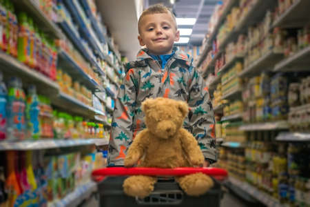 Cute little Caucasian boy shopping with his teddy bear in a basket