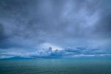 Turquoise sea waters as seen from Tsilivi Beach on a cloudy and stormy day in summer, Zante Island, Greece