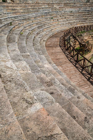 Ruins and remnants of ancient Roman theatre in Ohrid, Northern Macedonia