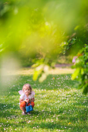 Cute little Caucasian girl with artificial butterfly wings attached, holding a handbag and squatting on a grass  in a park in spring.