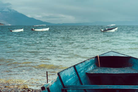 Front of an old boat on the shore of Lake Ohrid, Republic of Macedonia Stok Fotoğraf