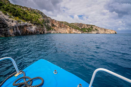 Front of a blue tourist boat heading for the Blue Caves, Zante Island, Greece 写真素材