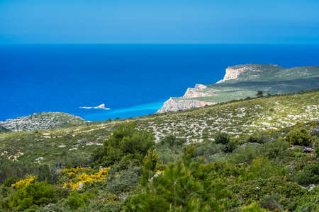 Panoramic view of the cliffs near Navaggio Beach and Porto Limnionas in summer on Zante Island, Greece Stock Photo