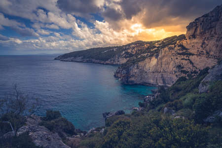 View of the Cliffs near Skinari Cape in summer on Zante Island, Greece Stock Photo