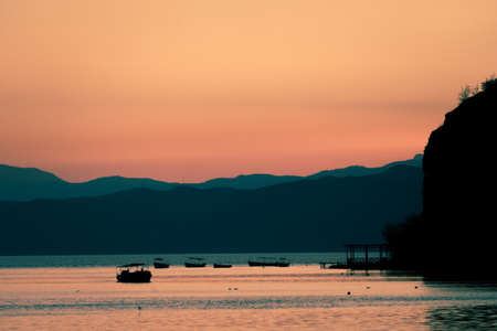 Sunset over stunningly beautiful Lake Ohrid, Republic of Macedonia