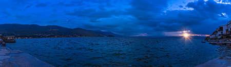 Sunset over Lake Ohrid in Northern Macedonia 免版税图像 - 127609869