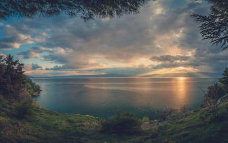 Panoramic view of a sunset over stunningly beautiful Lake Ohrid, Republic of Macedonia