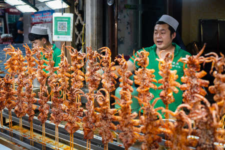 Xian, China -  July 2019 : Meat, snacks, calamari and fried baby octopus vendor selling food on the street in the Muslim Quarter Editorial