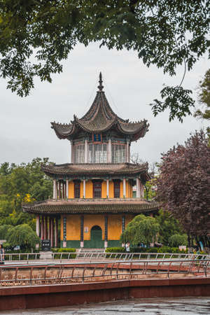 Xian, China -  August 2019 : Traditional pagoda building in Revolution Park, Shaanxi Province
