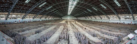 Xian, China - July 2019 : An army of terracota clay soldiers, created during the reign of first chinese emperor Qin Shi Huang Di, Xian, Shaanxi Province Editorial