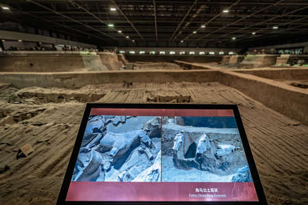 Xian, China -  July 2019 : Information display about the Terracota Army warriors, created during the reign of first chinese emperor Qin Shi Huang Di, Shaanxi Province