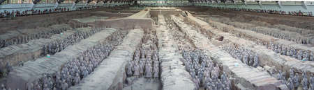Xian, China -  July 2019 : Panorama of an army of terracota clay soldiers, created during the reign of first chinese emperor Qin Shi Huang Di,  Shaanxi Province