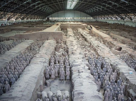 Xian, China -  July 2019 : Terracota Army archeological site, army warrior statues were created during the reign of first chinese emperor Qin Shi Huang Di, Xian, Shaanxi Province