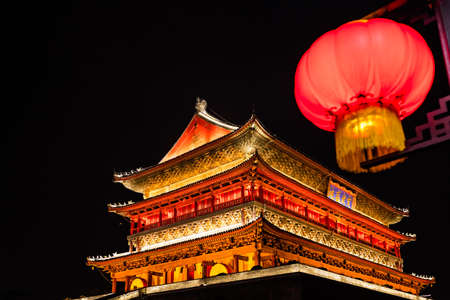 Xian Bell Drum Tower beautifully lit and illuminated at night, Shaaxi Province