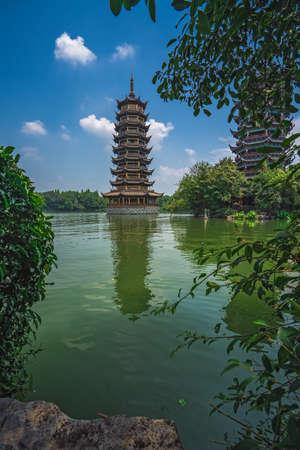 Landmark Sun Pagoda Tower at Shanhu or Shan Lake in Guilin town, Guangxi Province, China