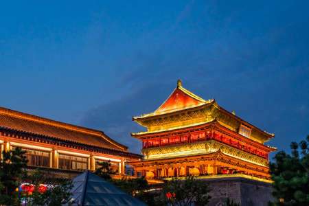 Xian, China -  July 2019 : Xian Bell Drum Tower beautifully lit and illuminated at night, Shaaxi Province