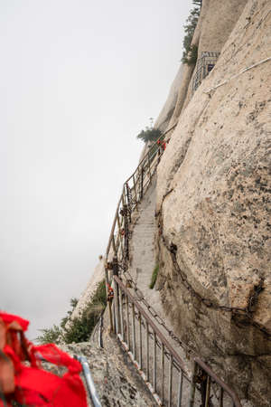 Dangerous and perilous Plank Walk trail closed for public access due to bad weather conditions, Huashan mountain, Xian, Shaanxi Province, China