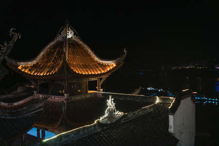 Zhang Fei Temple on the shore of Yangtze river at night, built to commemorate Zhang Fei Han and his dynasty in Three Kingdoms period. It has history of more then 1700 years. Yunyang County, China
