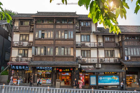 Chongqing, China -  August 2019 :  Facade of an old building in Ci Qi Kou Ancient town