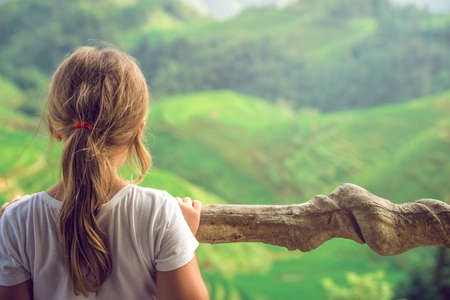 Cute young girl standing on a Nine Dragons and Five tigers viewpoint and admiring cascading layered Longji Rice Terraces, Pingan village, northern Guilin, Guangxi Province, China Standard-Bild