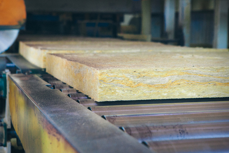 Factory equipment for the production of glass wool 版權商用圖片
