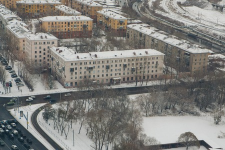 View of the winter city from above. Russia