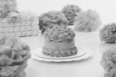 cake on white background closeup. Confectionery decorated with roses. The concept of advertising baking, calorie, food, diet