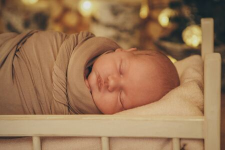 newborn baby sleeping in a crib on the background of Christmas trees . Imitation of a baby in the womb. Portrait of a newborn. healthy lifestyle concept, IVF, Christmas, new year holidays Reklamní fotografie